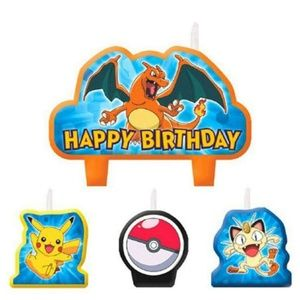 4 Piece Pokemon Pikachu Happy Birthday Cake